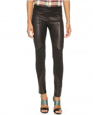 Women Leather and Fabric Mix Leather Pant