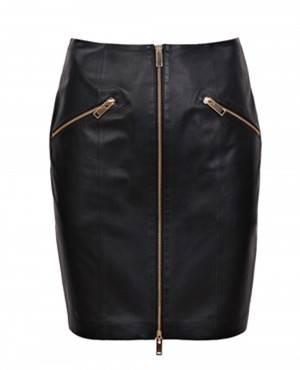 Women Leather Mini Skirt with Golden Zippers