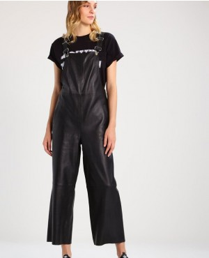 Women Leather Pant Dungarees Black