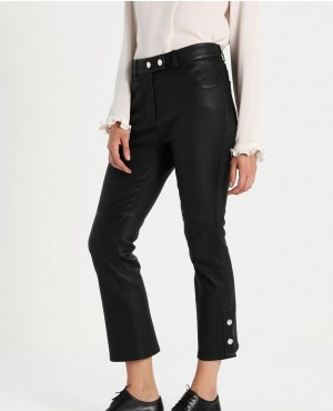 Women Leather Pant with Button Closure In Black