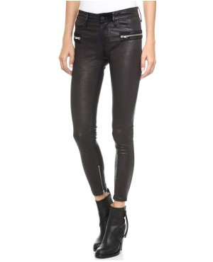 Women Leather Pant with Side Zippers