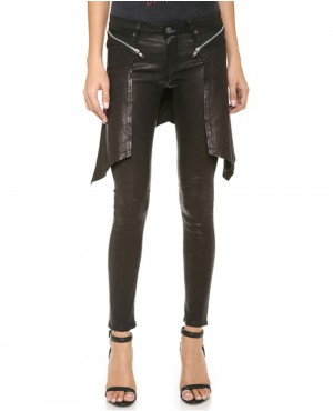 Women Leather Zipper Pant