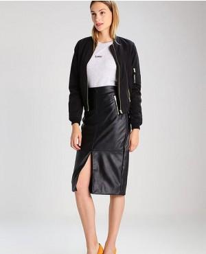 Women Long Leather Skirt Black