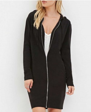 Women Long Zipper Hoodie