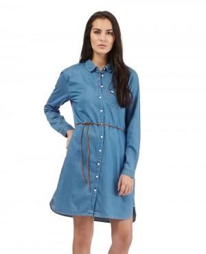 Women Longline & Long Sleeve Fashionable Denim Dress