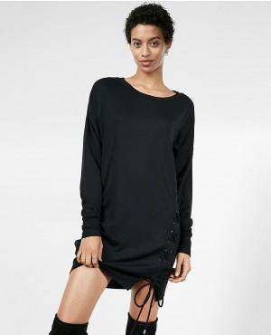 Women Longline Lace Up Sweatshirt Dress