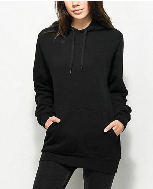Women Longline Oversize Black Color Hoodie With Cutomization