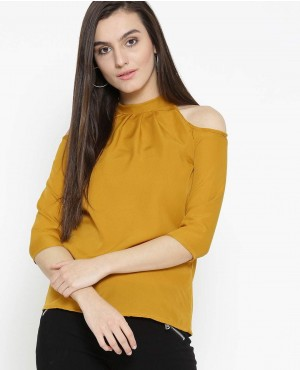 Women Mustard Yellow Solid T Shirt