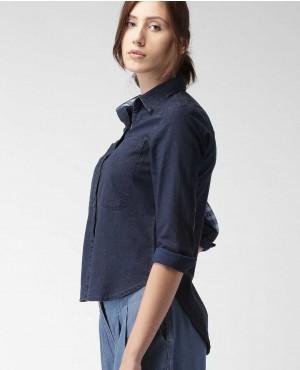 Women Navy Blue Casual Shirts