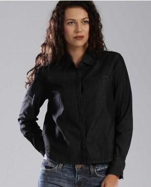 Women Navy Solid Denim Shirt