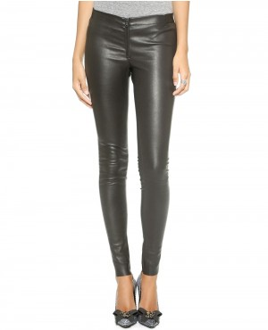 Women Office Black Leather Pant