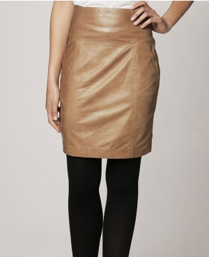 Women Office Lady Brown Leather Skirt