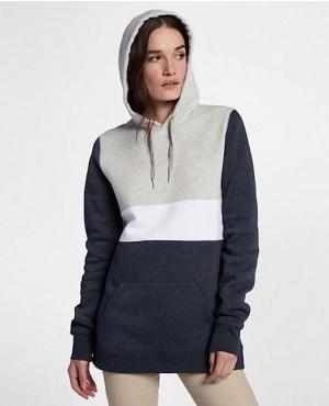 Women Oversize Blocked Pullover Hoodie