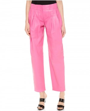 Women Pink Leather Pant for Parties