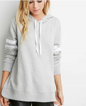 Women Printed Pullover Hooded with Side Zippers