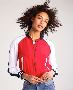 Women Red & White Bomber Jacket