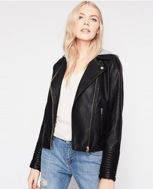 Women Removable Hood Biker Leather Jacket
