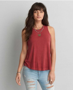 Women Round Hem Burgundy Tank Top