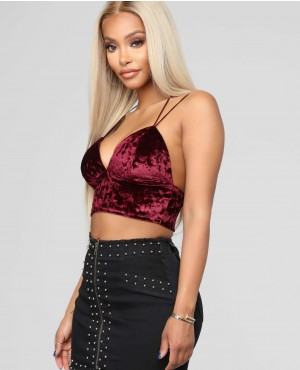 Women Sexy Velour Velvet Crop Top