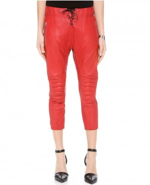 Women Short Length Red Leather Pant