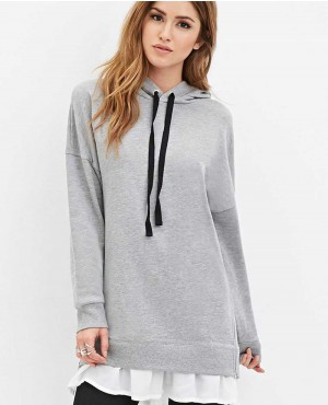 Women Side Zippers Grey Hoodie