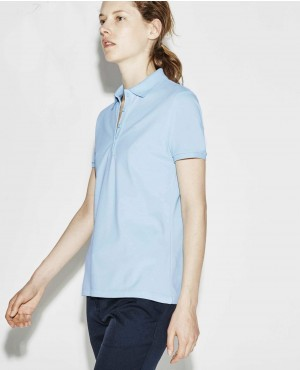 Women Sky Blue Polo Shirt With Own your Custom Brands