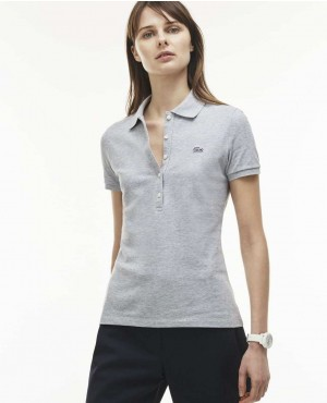 Women Stretch Mini Cotton Pique Polo Shirt
