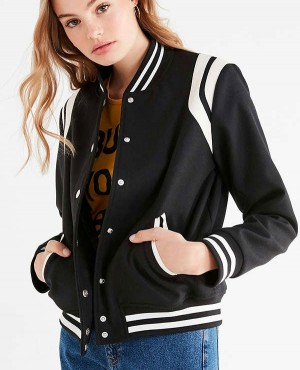 Women Striped Varsity Jacket
