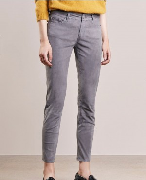 Women Suede Leather Pant Trousers Stone Grey