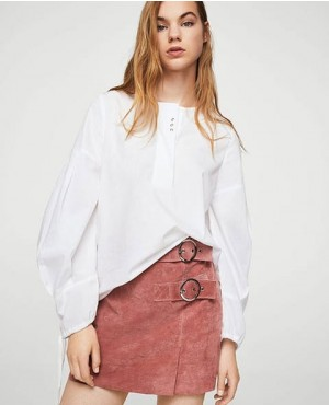 Women Suede Leather Skirt Pastel Pink