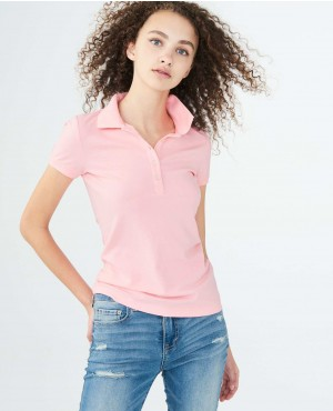 Women Trendy Polo Shirt In Pink Color With Own Your Customization