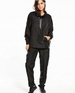 Women Windbreaker Woven Black Tracksuit