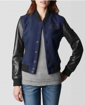 Women Wool Body with Leather Sleeves Varsity Jacket