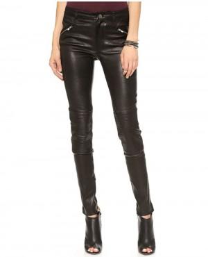 Women Zipper Pockets Leather Pant
