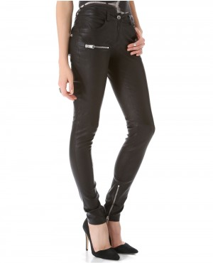 Women Zippers Leather Jean Pant