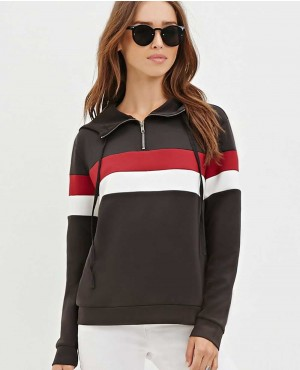 Women Front Neck Half Zipper Striped Hoody
