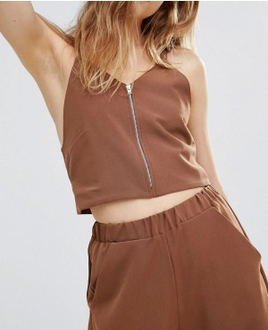 Zip Front Crop Top Co-Ord