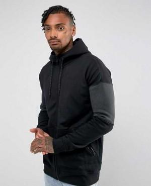 Zipper Hoodie in Black with Zipper Pockets