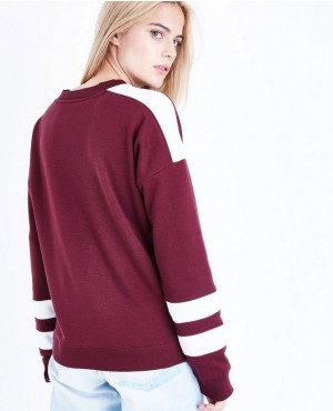 Burgundy-Colour-Block-Sleeve-Sweatshirt-RO-2972-20-(1)
