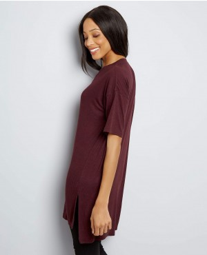 Burgundy-Split-Side-Longline-T-Shirt-RO-2484-20-(1)