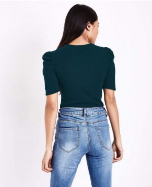 Dark-Green-Puff-Sleeve-Ribbed-T-Shirt-RO-2497-20-(1)