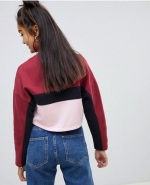 Girl-Crop-Sweatshirt-With-Half-Zip-and-Blocks-Stripe-RO-2664-20-(1)