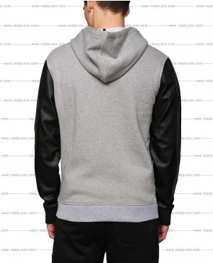 Grey-Hoodie-with-PU-Leather-Sleeves-RO-610-(1)
