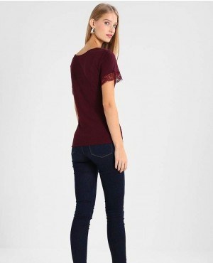 Maroon-T-Shirt-With-Lace-Sleeves-RO-2512-20-(1)