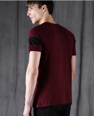 Men-Maroon-Custom-Brands-Round-Neck-T-Shirt-RO-2155-20-(1)
