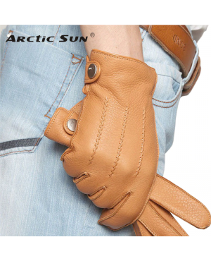 Men Fashion Deerskin Gloves Button Wrist Solid Genuine Leather RO-2448-20 (1)