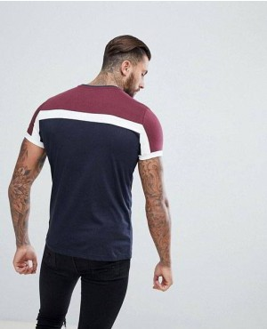 Navy-Blue-And-Maroon-T-Shirt-With-White-Stripes-RO-2163-20-(1)
