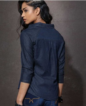 New-Style-Ladies-Fashion-Navy-Denim-Look-Shirt-RO-3333-20-(1)