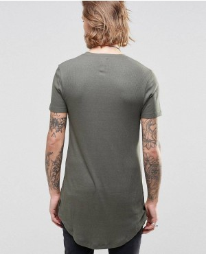 Olive-Green-Side-Buttons-Elongated-T-Shirt-RO-2503-(1)