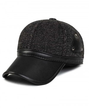 Unisex-Ear-Flap-PU-Leather-Woolen-Stripe-Baseball-Cap-RO-2339-20-(1)